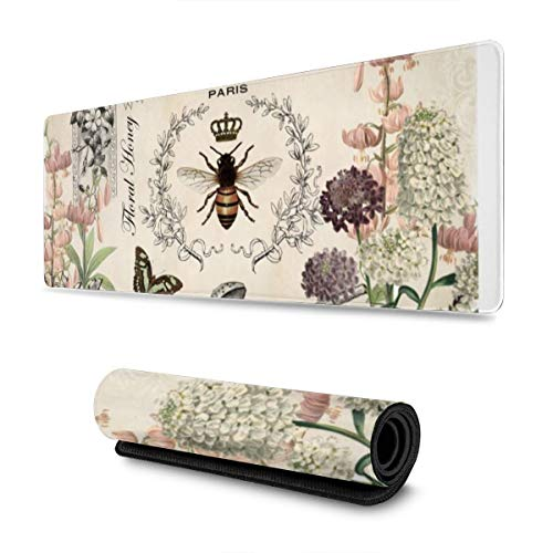 Modern Vintage French Bee Garden Large Gaming Mouse Pad,Non-Slip Rubber Base Desk Mat for Computers Laptop Gamer,Office & Home, 31.5 x 11.8 in