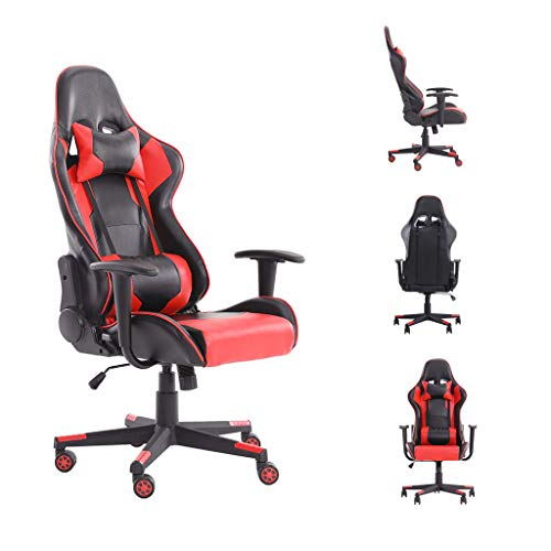 WV LeisureMaster ergonomic gaming chair office chair with headrest and lumbar support, adjustable swivel work chair (Red3)