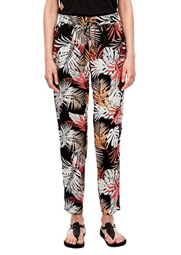 s.Oliver RED Label Damen Regular Fit: Stoffhose mit Allover-Print Black floral AOP 40