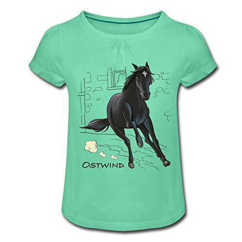 Ostwind Hengst Ostwind im Galopp Mädchen T-Shirt mit Raffungen, XL, Mintgrün