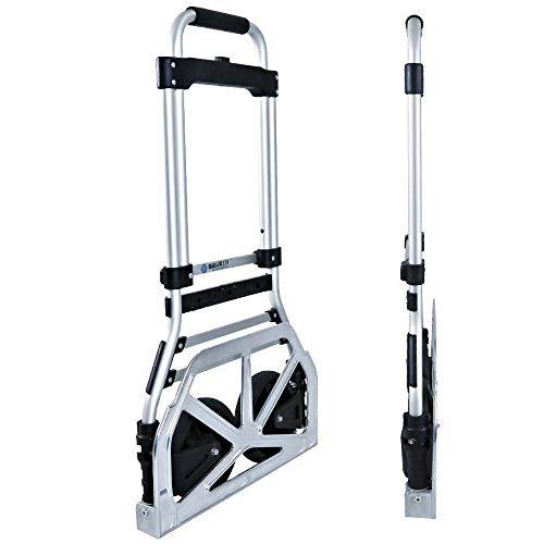 Aluminum Alloy Folding Shopping Cart Trolley With Anti Puncture Silent Wheel and 90 kg Capacity,Silver Wheeled Shopping Trolley for Luggage, Travel, Shopping, Auto, Moving And Office Us