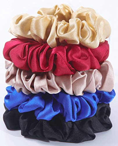 Shoppy Floor - 100% Pure Mulberry Large Silk Scrunchies - Soft, Gentle Tie and Tight Hold - Elastic Hair Ties Band Scrunchy For Women and Girls - 5 Scrunchie Pack With Beautiful Gift Box Packaging