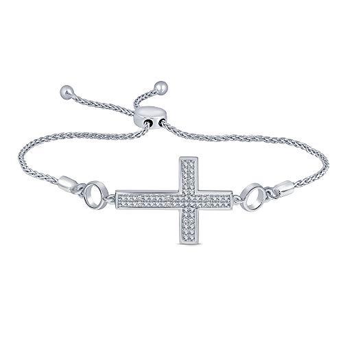 Sterling Silver White Diamond Adjustable Cross Strand Bolo Bracelet (0.05ct) for Womens Teens