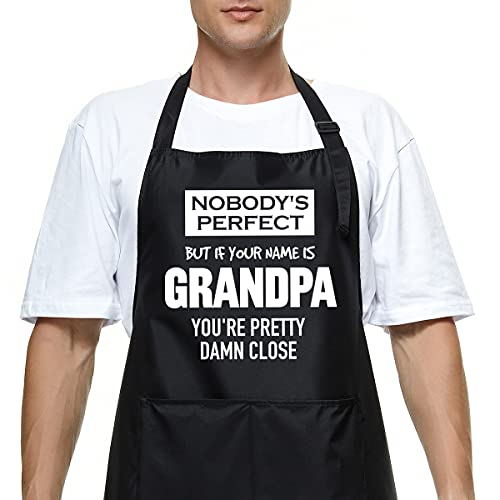 Funny Apron for Men Dad Papa, Grandpa Grilling Apron, Adjustable Waterproof Black Aprons with 2 Pockets, Kitchen Cooking Chef Apron Gift, Gifts for Birthday Father's Day Christmas