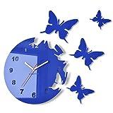 FLEXISTYLE Orologio da Parete Salotto Tondo Moderno Farfalle Blu Decorativo Silenzioso 30 cm