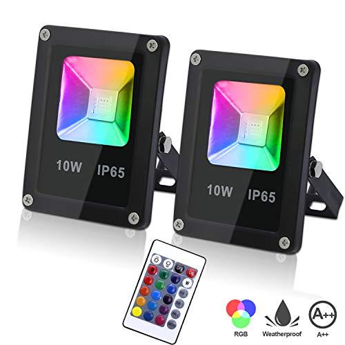 Hengda 2er 10W RGB LED Strahler Dimmbar mit Fernbedienung Memoryfunktion LED Fluter Außen IP65 Wasserdicht LED Flutlichtstrahler für Garten Party