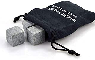 Whiskey Stones, Yummy Sam Reusable Ice Stone Chilling Rocks Cubes in Gift Box with Carrying Pouch, Set of 9 for Whiskey, B...