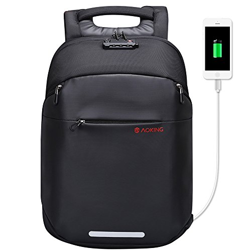 [Aoking] 多機能 USBポート バックパック 大学生 メンズ 黒 リュック パソコン 盗難防止防水 リュック 軽い 旅行 カバン