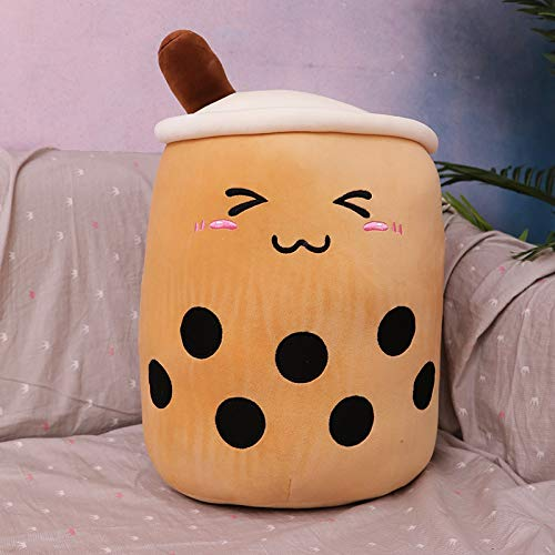 Anyinghh 24-70cm creative cute simulation milk tea plush toy cup pillow cute funny doll pearl milk tea cup cushion decoration 35 cm dark coffee color squinting