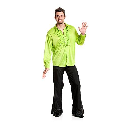 Kostümplanet® Rüschenhemd grün Herren Rüschen-Hemd 70er Jahre Größe 56/58
