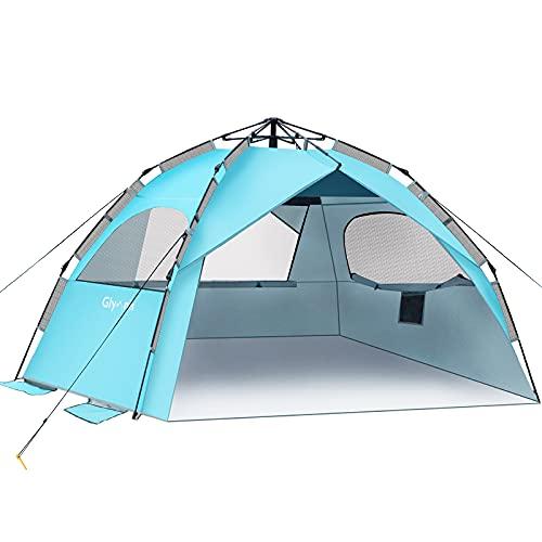 Glymnis Strandmuschel Quick Up Strandzelt Automatisches Strand Zelt UV-Schutz 50+ Windschutz kleines Packmaß Blau Strandzelt für 4 bis 6 Personen