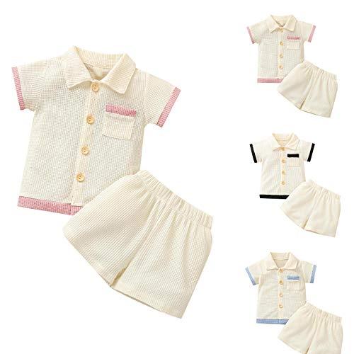 2Pcs/ Set Conjunto de Trajes Elegantes para Bebés Camisa de Manga Corta con Botones de Verano con Pantalones Cortos para 0-3 Años