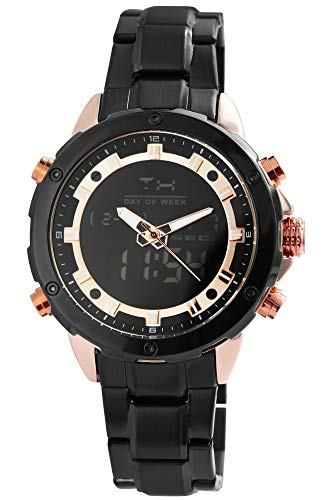 Raptor Herren-Uhr Edelstahl Chronograph Leuchtzeiger Analog Digital RA20329 (schwarz/schwarz/roségoldfarbig)