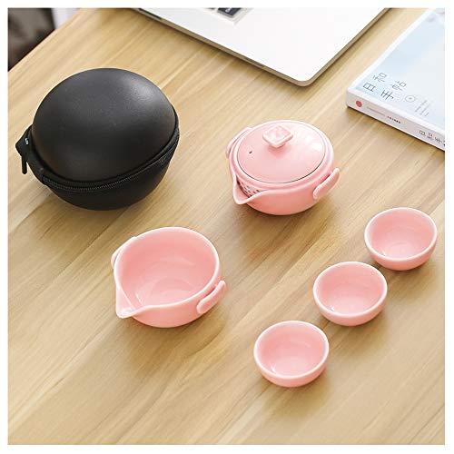 Juego de té de cerámica de Viaje, Tetera de té de cerámica China Tetera de Porcelana para el Hotel de Negocios de Picnic al Aire Libre,A