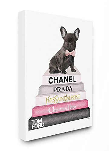 Stupell Industries Book Stack Fashion French Bulldog Stretched Canvas Wall Art, 16x20, Multicolor