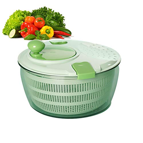 Salad Spinner,Vegetable Spinner with Bowl, Lettuce Washer and Dryer - Easy Water Drain System and Compact Storage,Perfect for Washing & Drying Leafy Vegetables