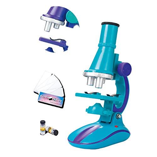 ZYMSD Kinder-Mikroskop-Set, 100x 200x 450x Mikroskop Kit/Wissenschaft Spielzeug mit LED-Licht für Early Education Geburtstags-Geschenk (8-14 Jahre),Blau