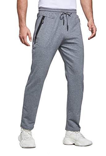 ZOXOZ Jogginghose Herren Baumwolle Trainingshose Männer Sporthose Herren Lang Fitness Hosen Herren mit Reißverschlusstaschen Grau L