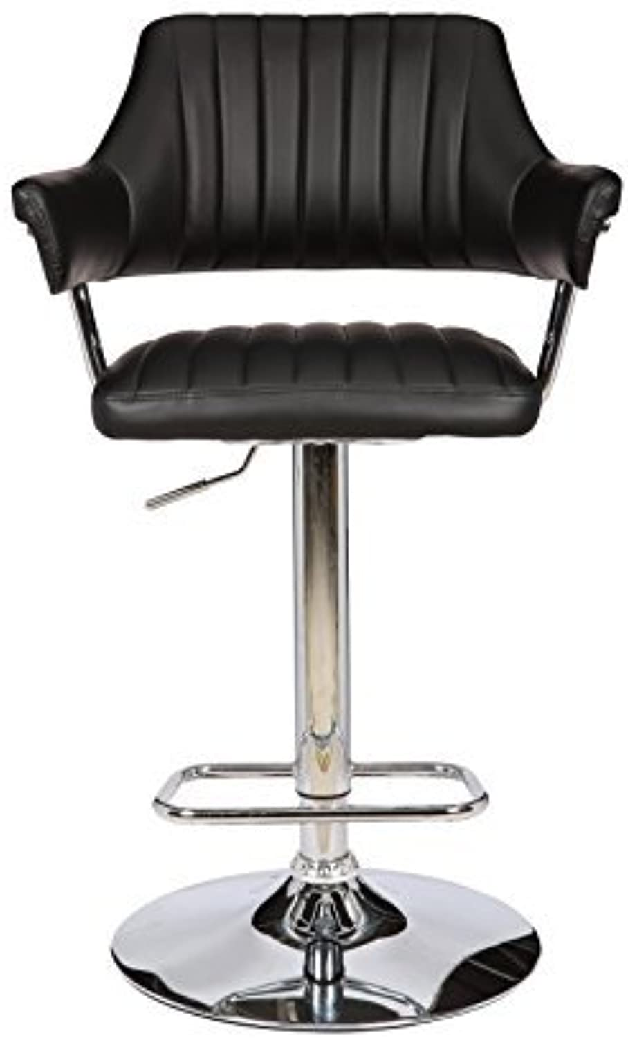 ViscoLogic Series YORK 24 inch Wide, Height Adjustable Leatherette 360 Swivel 23 to 34 inch Bar Stool with Stripes Pattern Quilted Upholstered High Backrest and Armrests, Chrome Pole & Base, Hard Plastic Floor predection Installed in Bar Stool (Single Sto