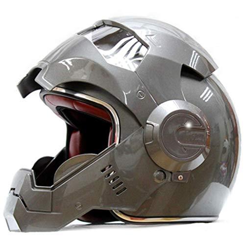 LSLVKEN Carretera Hombre Iron Man Marvel Avengers Casco Casco Profesional de Edad, Auriculares SUV Gris,S