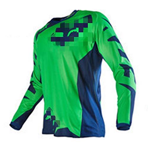Maillot de Manga Larga para Hombre Traje de Descenso al Aire Libre, Camisa de Bicicleta de montaña Ropa de Carreras, Ciclismo Tops MTB Transpirable de Secado rápido Motocross Jersey (A3,5XL)