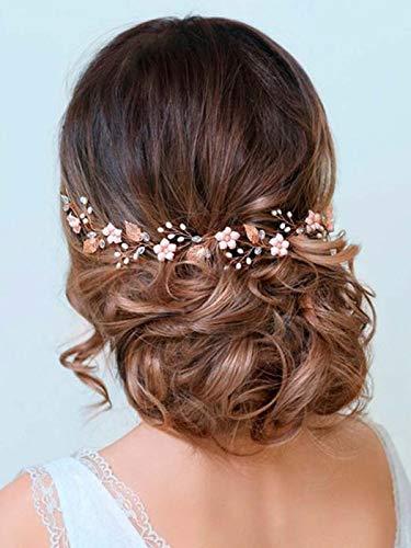 Handcess Hojas de novia boda vid plata perla ópalo cabeza flor Rhinestone accesorios para el pelo de novia para mujeres y niñas (oro rosa)