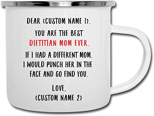 Nombre personalizado mejor dietista mamá siempre regalos personalizados para mujeres esmalte camper taza 12 oz