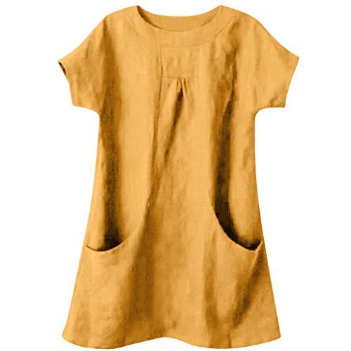 Xmiral T Shirt Donna,Maglia Maglietta Donna Tasca in Cotone Tinta Unita e Lino Magliette a Manica Corta Vintage Magliette Donna Maniche Corte Donna Camicetta Casual t-Shirt L Giallo