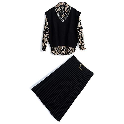 AOXQ Camisa Retro + Chaleco de Punto con Lentejuelas con Tachuelas + Falda Plisada de Tres Piezas Mujer Black_S