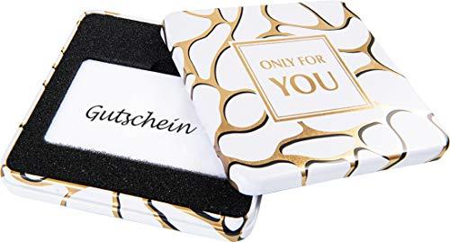 KHI Gutscheindose Geschenkdose Dose, Verpackung für Gutscheine u. Geschenkkarte Metalldose White & Gold
