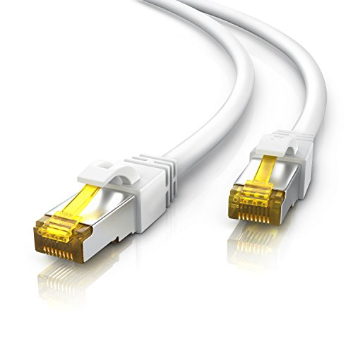 Primewire 15m Cable de Red Gigabit Ethernet Cat 7-10000 Mbit s - Cable de Conexión - Cable Cat7 en Bruto con apantallamiento S FTP PIMF y Conector RJ45 - Punto de Acceso Switch Router Modem - Blanco