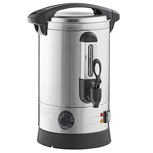 54 Cup Capacity Hot Water Boiler Urn with Safety Tap , Metal Spout, Stainless Steel Double Wall and Dual Heating Elements -- Instant Heating and with Reboil Capability when Refilled with Cold Water. Perfect for Keeping Piping Hot Water for Tea, Coffee and for Entertaining.