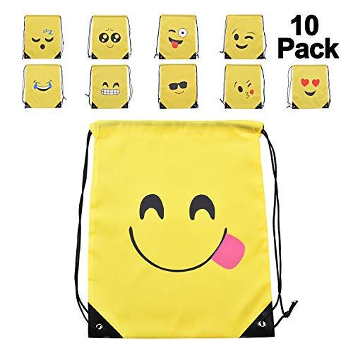Lynlon Emoji Turnbeutel, Mitgebsel | Kindergeburstagen | Gastgeschenke [10 Pack] für Kinder Geburtstage, Kunst und Handwerk Veranstaltungen, Emoji Party Supplies