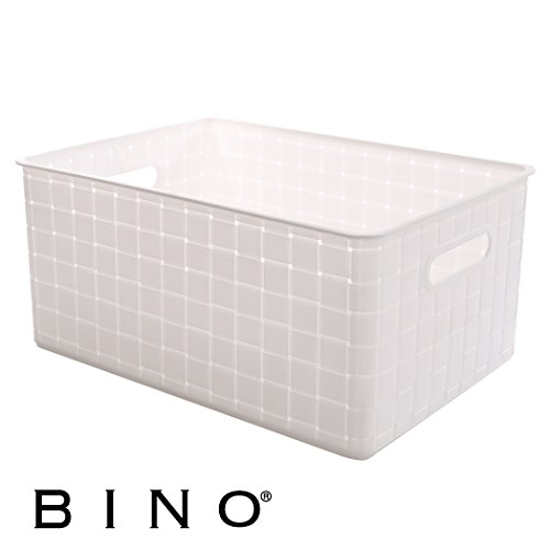 BINO Woven Plastic Storage Basket, Large (White)