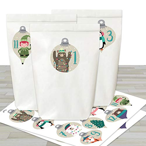 Adventskalender om te vullen en te knutselen, complete set, 24 witte papieren zakken en 24 stickers met cijfers voor kinderen en volwassenen Kerstballen met dieren