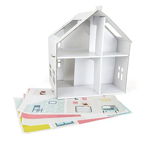 Small Foot 10761 Puppenhaus aus Pappe zum Bekleben, leichtes Aufbauen mit praktischem Griff zum Transport, inkl. Schöne Aufkleber zum Verzieren, fördert Kreativität und Motorik