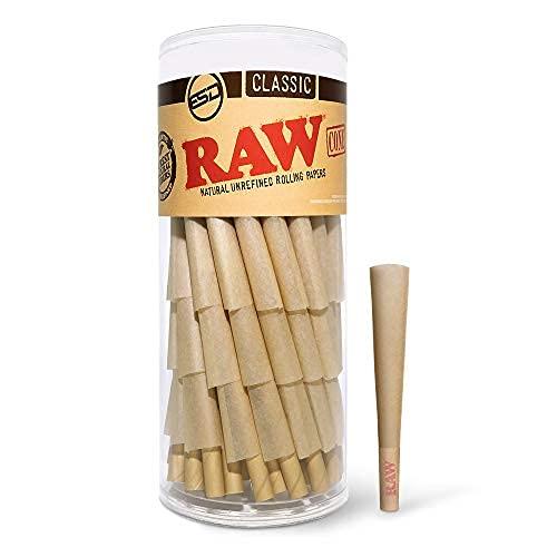 RAW Lot de 75 cônes de papier à rouler pré-roulés naturel avec embouts et bâtons d'emballage inclus