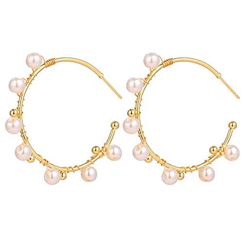 TYUTYU Pendientes Moda de Gran tamaño Irregular Círculo de Perlas de Perlas de aro de Oro Oro Redonda de Perla Aleación Grandes Pendientes Joyería de Boda Regalo (Metal Color : IPA0796-5)