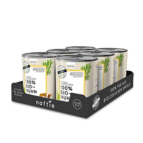 naftie Bio Hundefutter 100% Bio-Huhn | Reinfleisch Huhn pur | Nassfutter zum Mischen, Barf-Fleisch | Glutenfrei | Getreidefrei | Sparpaket 6 x 800 g Dosen