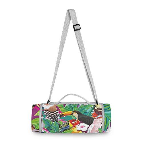 BEUSS Tropischer Vogel Tukan Papagei Picknickdecke wasserdicht Kreative Runde Picknick-Matte Kampierende Strand Yoga Decken Matten im Freien Faltbar Leicht Matte Decke mit Tragegriff(148cm x 148cm)