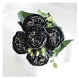 Flores Artificiales Vintage 30 cm rosa rosa peonía de seda flores artificiales Ramo de 5 cabezas y 4 flores falsas de brote for la decoración del jardín de la boda del hogar ( Color : Black )