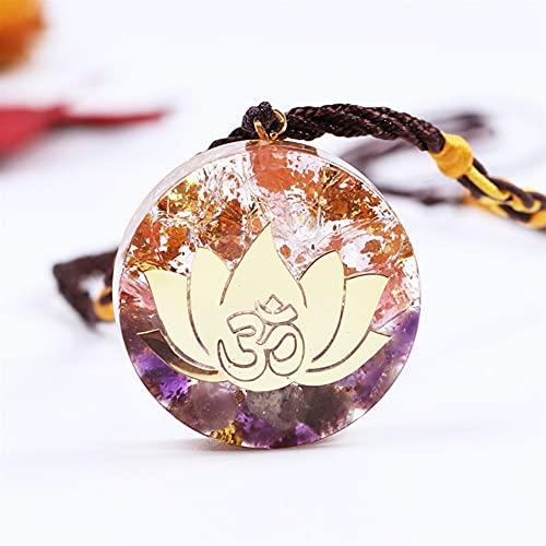 DFUF Hermosa Amethystine Orgone Colgante Lotus Energía Orgonita Collar Pink Crystal Healing Resina Joyería Dropshipping