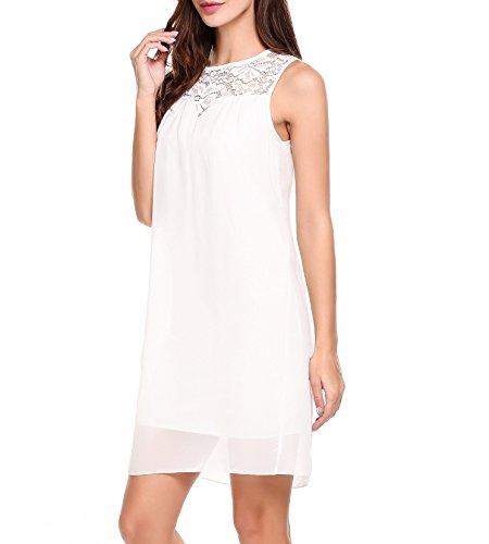 Beyove Sommerkleid Damen Elegant Kurz Chiffonkleid Casual Abendkleid mit Spitze Partykleid Sexy Hochzeit Strand , Weiß - S
