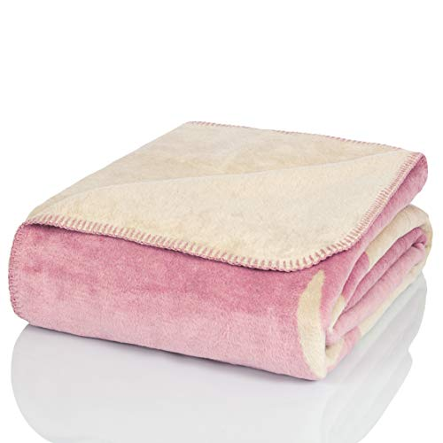 Glart Manta para sofá, diseño de Reno de Color Rosa, tamaño XL, 150 x 200 cm, Suave y cálida, Extra mullida, como Manta de sofá, Manta para el salón, Manta de Peluche para el sofá