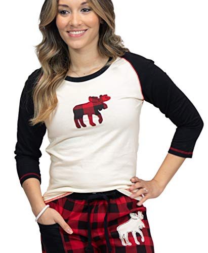 Lazy One Matching Family Pajama Sets for Adults, Teens, and Kids (Moose Plaid, XX-Large)