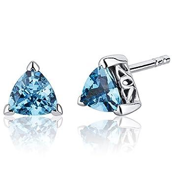 Swiss Blue Topaz Trillion Stud Earrings Sterling Silver 1.50 Carats