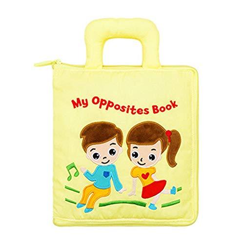 Yves25tate Baby-Tuch-Buch-Blandas Libros para bebés niños pequeños Multifunktionsfrühes Educ-Spielzeug ningún verblassendes Tuch-Buch para niños pequeños Amazing