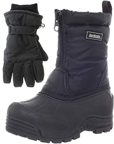 Northside Icicle Winter Snow Boots for Boys/Girls with Matching Waterproof Gloves, Size: 7 M US Big Kid - Black (Black)