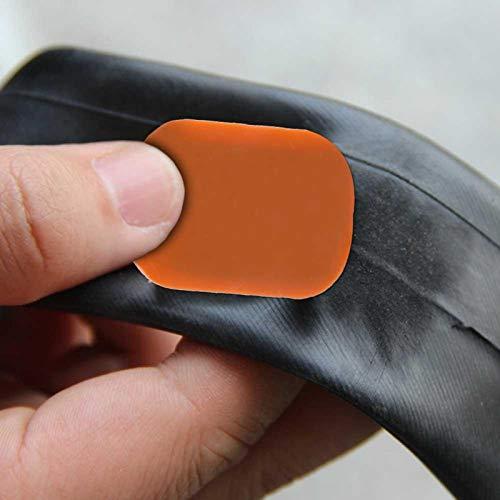 DAUERHAFT Parche de Tubo de Bicicleta Duradero y fácil de Usar 48 Piezas Adhesivo Fuerte para Todo Tipo de Bicicletas, para Reparar Tubos Interiores