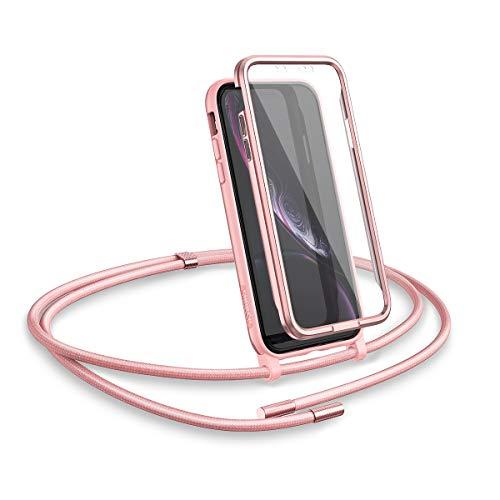 "SURITCH Funda con Cuerda para iPhone XR, Carcasa TPU Silicona Case con Protector de Pantalla con Colgante Ajustable Collar Correa de Cuello Cordón con iPhone XR 6,1""(Oro Rosa)"